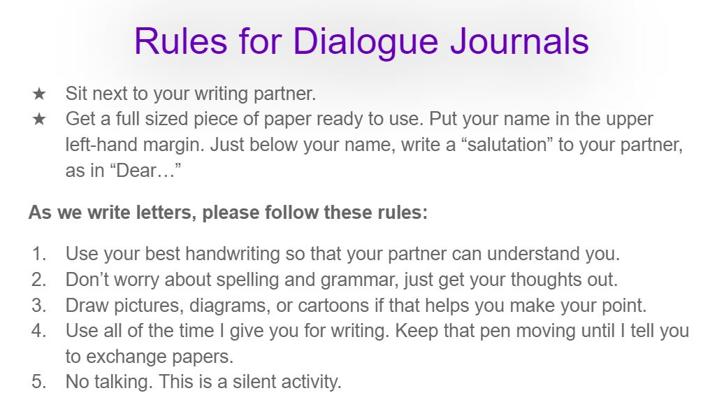 Rules for Dialogue Journals